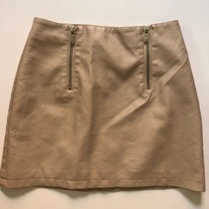 Tan Pleather Forever 21 Skirt with Zippers Medium